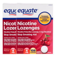 Nicotine Lozenge 4mg 108ps. x 2 Cherry Equate Stop Smoking Aid