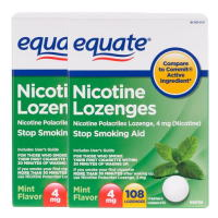 Nicotine Lozenge 4mg 108ps. x 2 Mint Equate Stop Smoking Aid