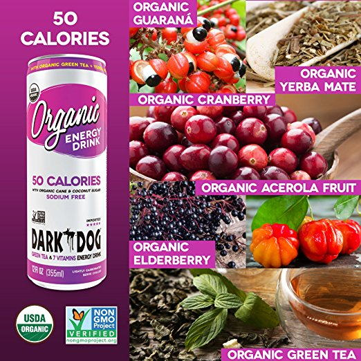 DARK DOG ORGANIC 50 Calories Energy Drink 355ml (12oz) x 12