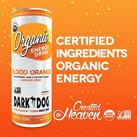 DARK DOG ORGANIC Blood Orange Energy Drink 355ml (12oz) x 12