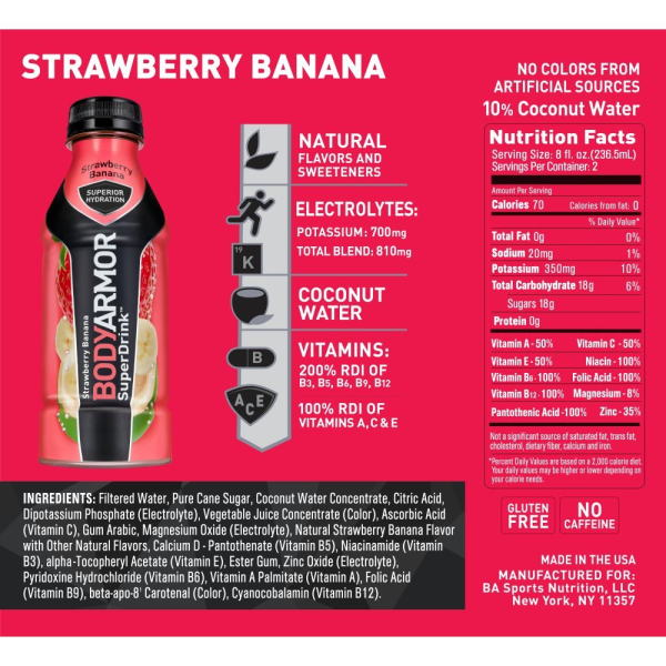 BODYARMOR Sports Drink Strawberry Banana 473ml (16 oz) x 12 Bottles