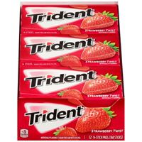 Trident Strawberry Twist Sugar Free Gum with Xylitol 14sticks x 12